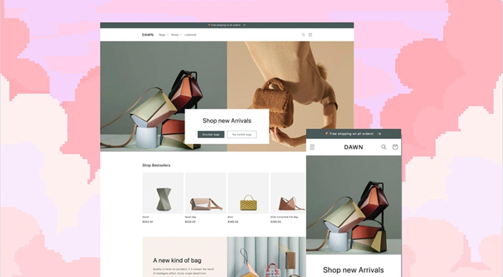 Shipify Theme Mockup On Pink Background