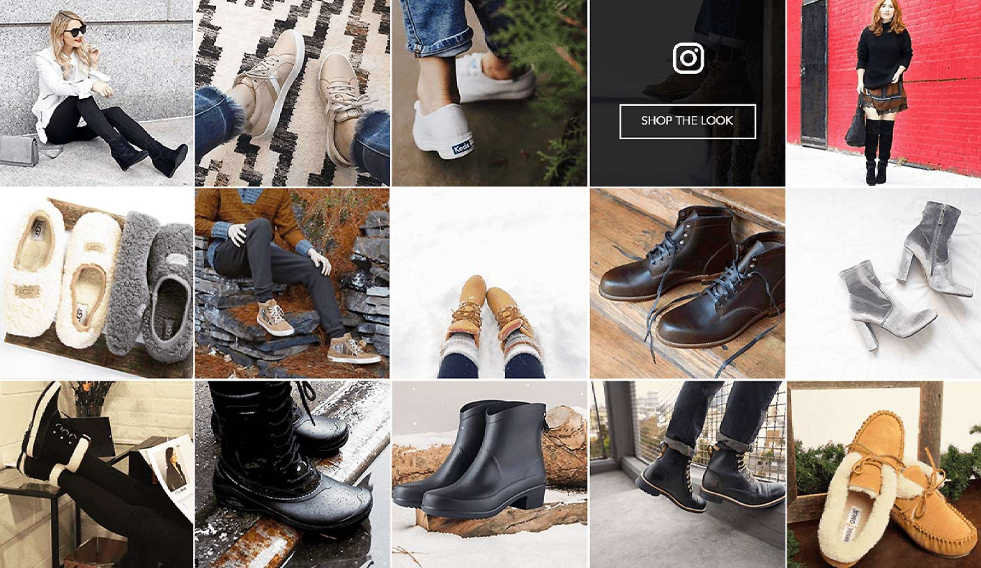 Instagram Grid Of A Footwear Brand Showcasing Different Winter Shoes