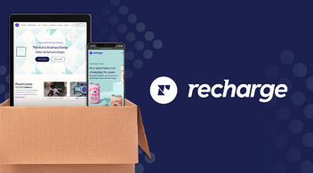 Cardboard Box With Smartphones And Recharge Subscription Services Logo On Navy Background