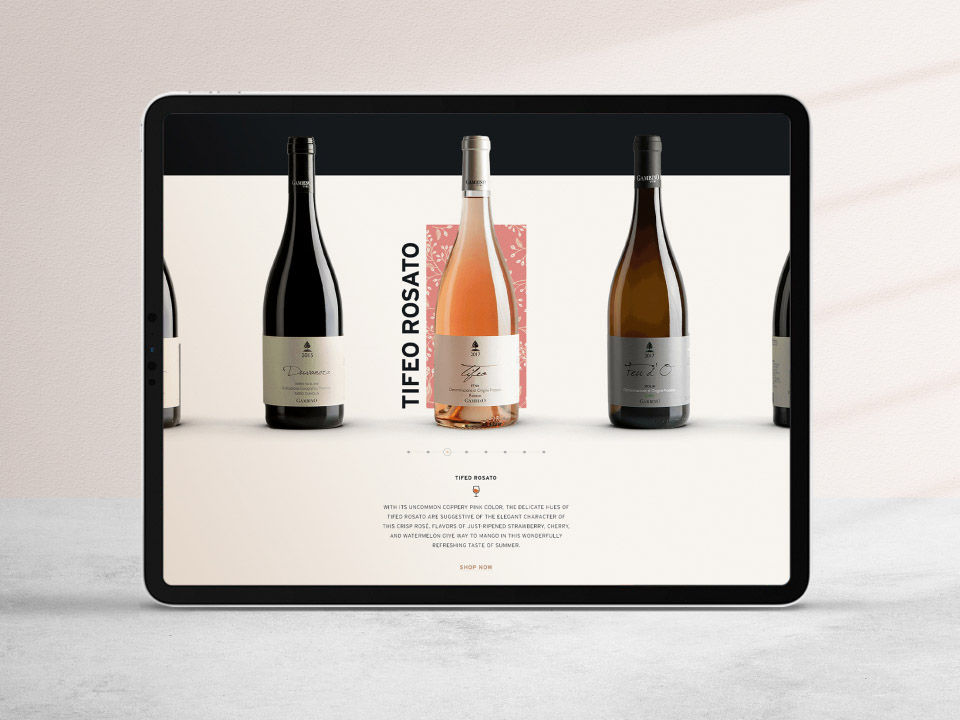 Alcohol Branding Agency Website Design of Winery Brand Featuring Bottles
