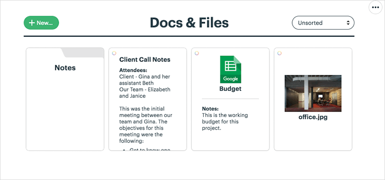 Basecamp3 Screenshot of Docs Files Feature in Project Management System