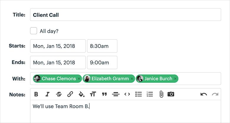 Work Collaboration Platform Schedule Screenshot