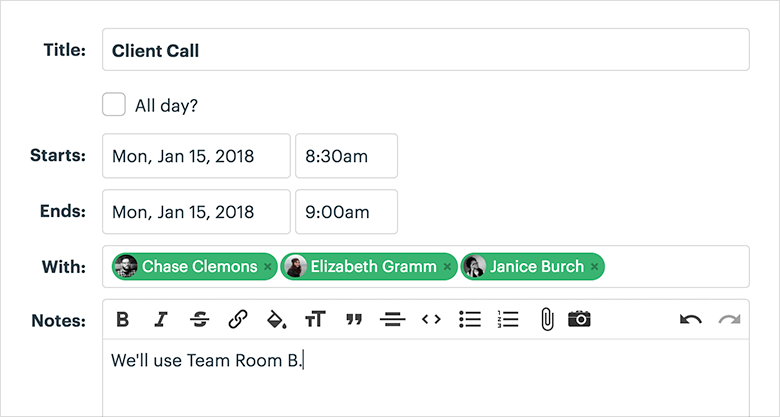 Basecamp 3 Blog Sample Schedule Screenshot