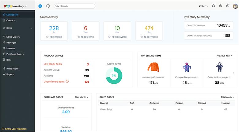 CRM Tools Zoho Dashboard Screenshot