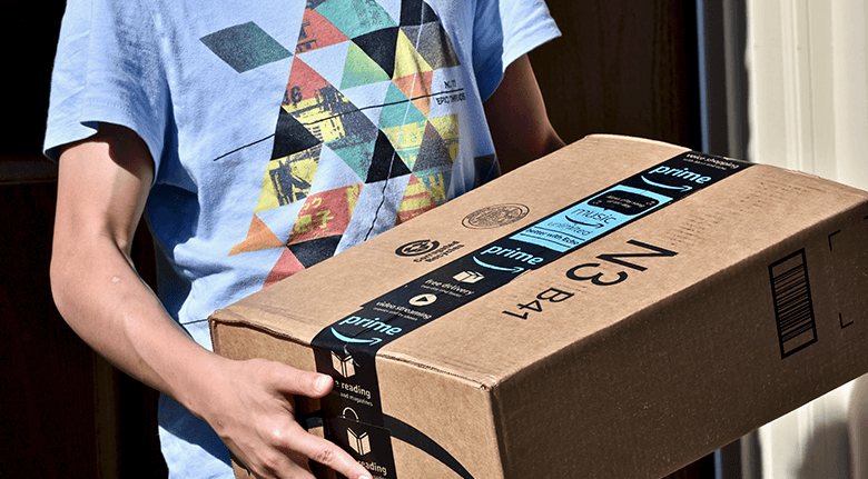 eCommerce Packaging Design - Man Carrying Amazon Prime Box