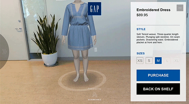 Example of GAP Augmented Reality eCommerce Store Selling Blue Dress