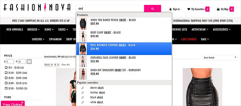 Ecommerce Search Fashion Nova