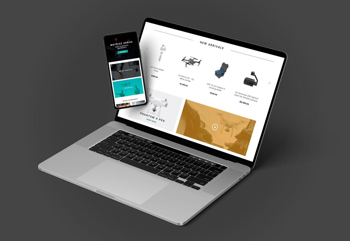 eCommerce Web Page On Laptop And Phone Screen On Gray Background