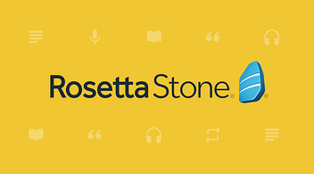 Logo Of Education Technology Company Rosetta Stone Featured On Marketing Agency Website Graphic With Yellow