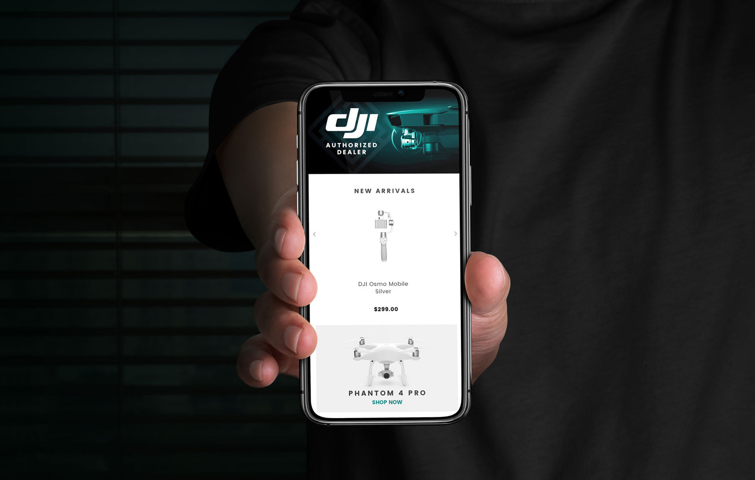 Hand Holding An iPhone With Technology Website Page