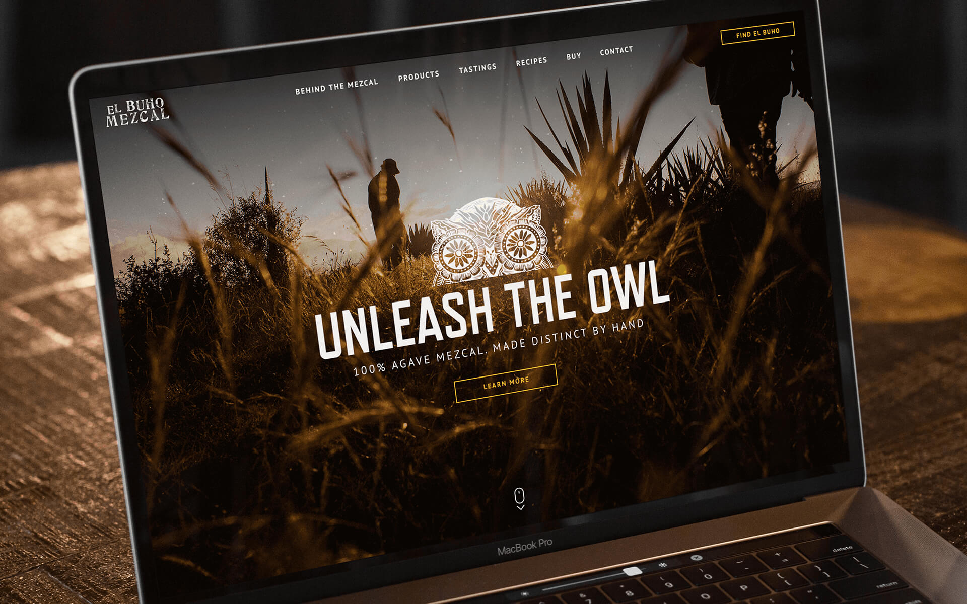 Alcohol Brand Marketing Agency Created Tequila Brand Home Page Displaying the Logo