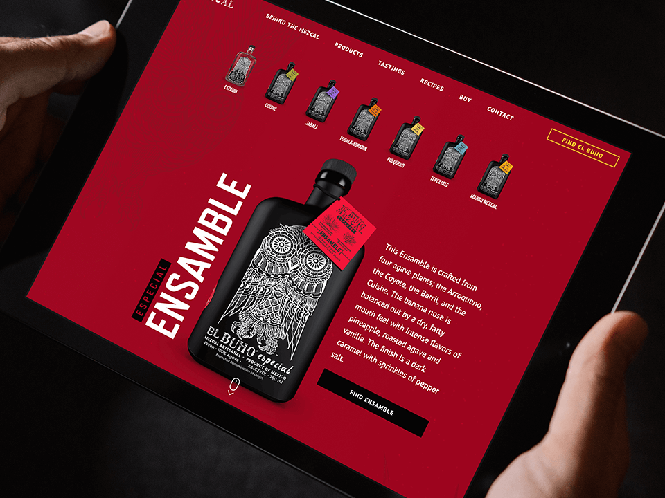 Alcohol Brand Website Design On Tablet