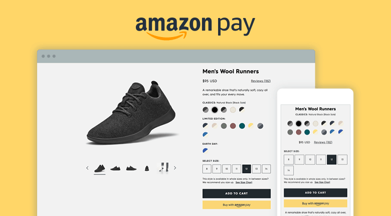 Amazon Pay Choosing Shoe Size And Color