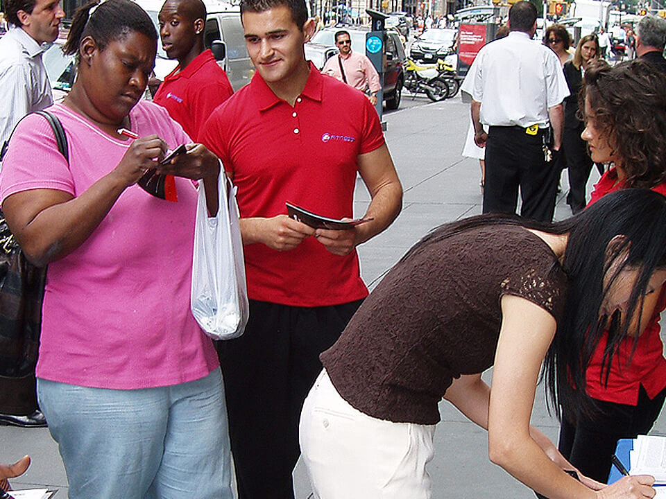 Fitness Marketing Agency Street Team Signing Up Customers