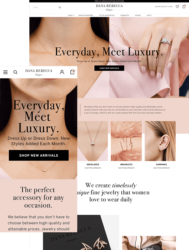 Example of Responsive BigCommerce Website For Jewelry