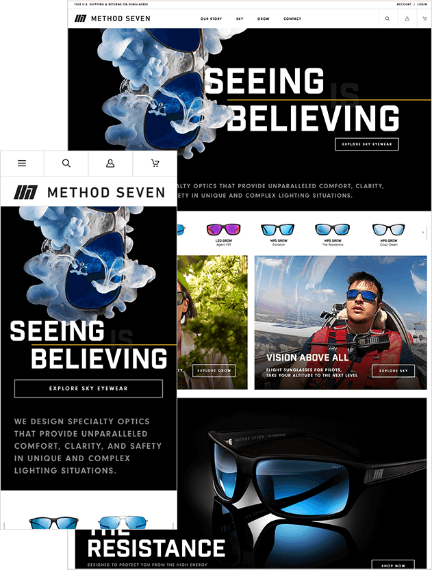 BigCommerce Migration Consultant Agency Image Of New Sunglasses Website