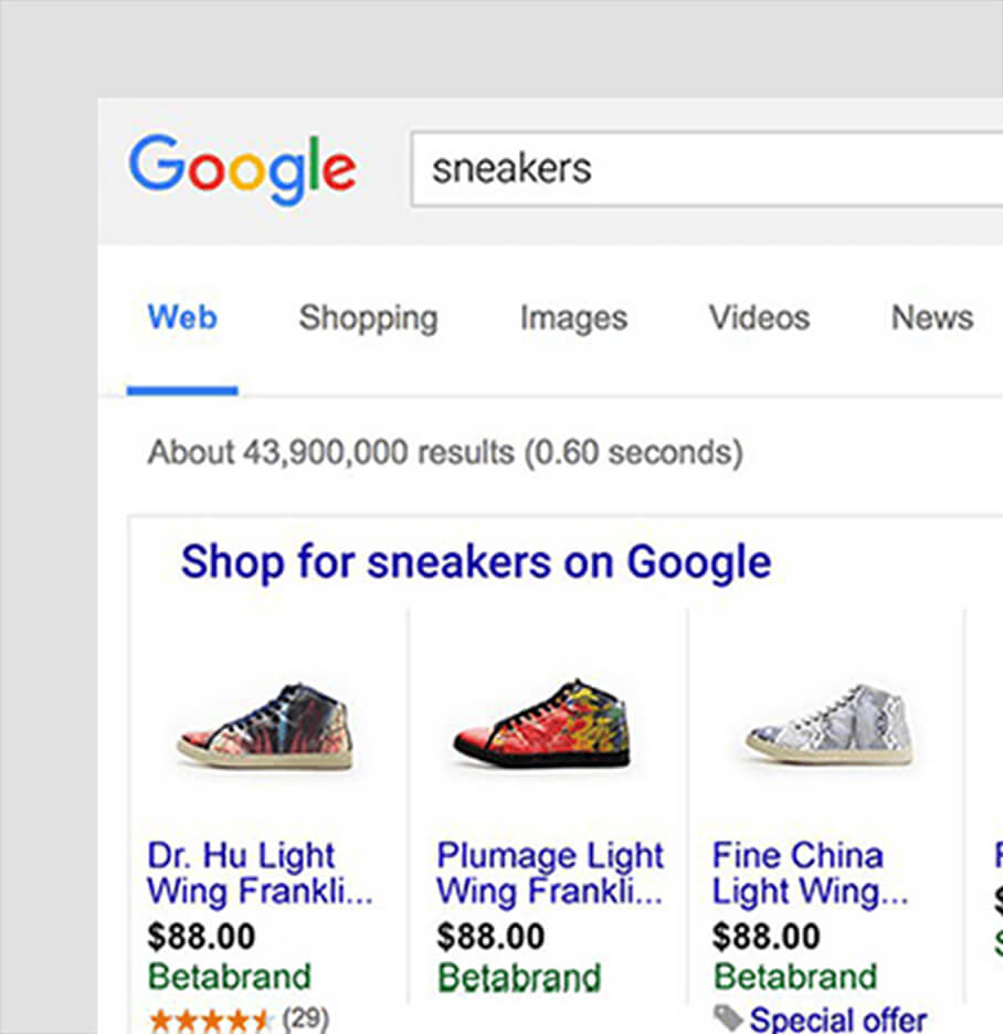 Example Of Search Results For Sneakers By A BigCommerce SEO Agency