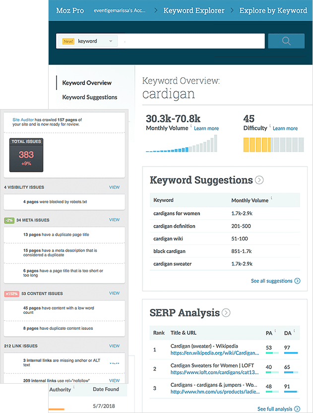 SEO Help Showing The Moz Keyword Tool