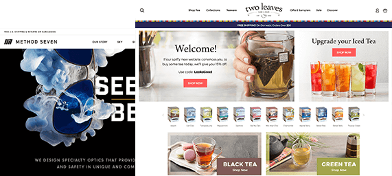 BigCommerce Website Development Example of Tea Company and Sunglasses Brand