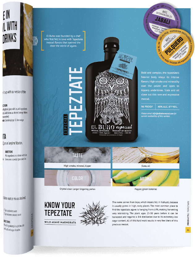 Magazine Ad And Brand Story for El Buho Tequila