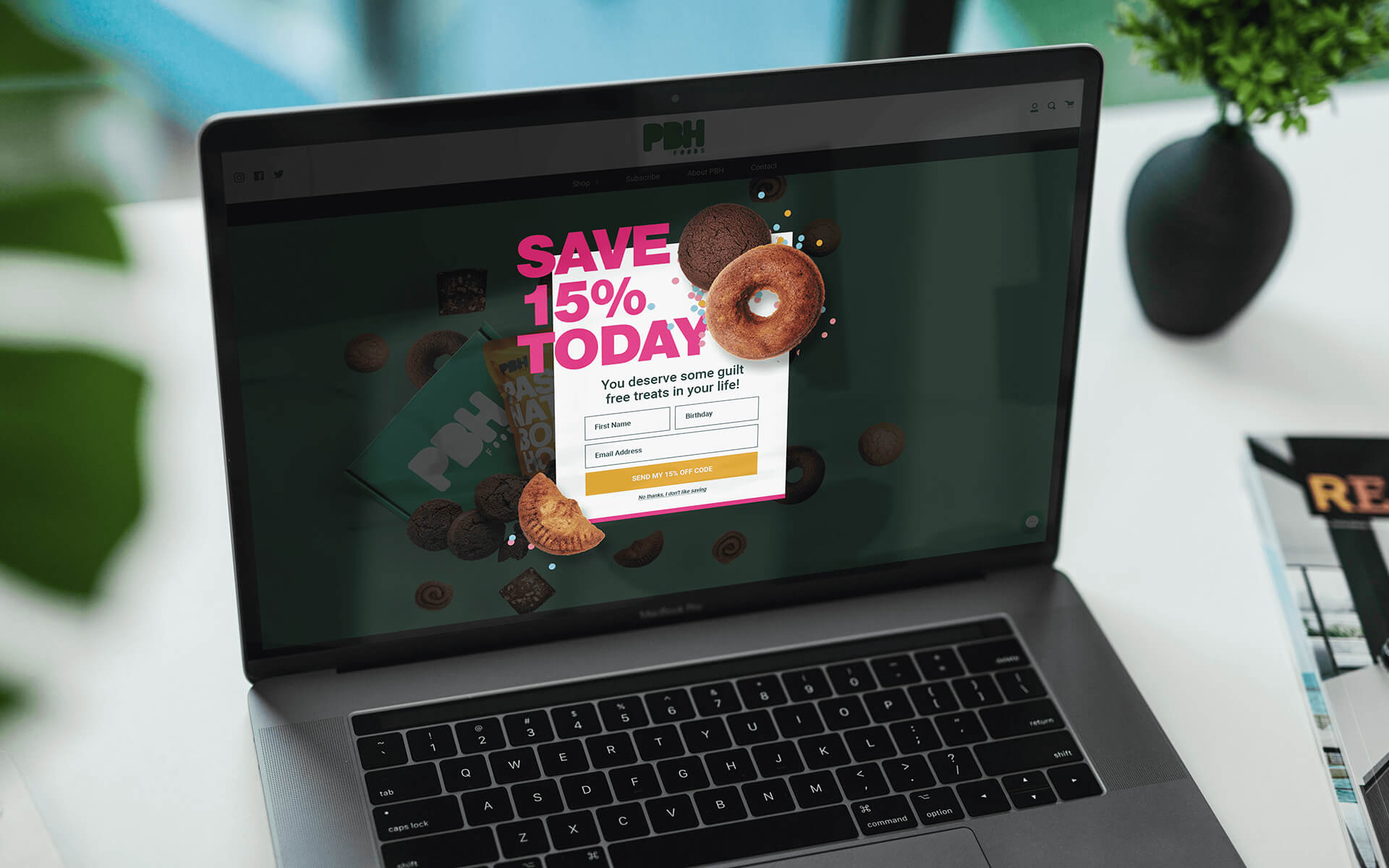 CPG Food Marketing Agency Example of Site Popup Design on Laptop