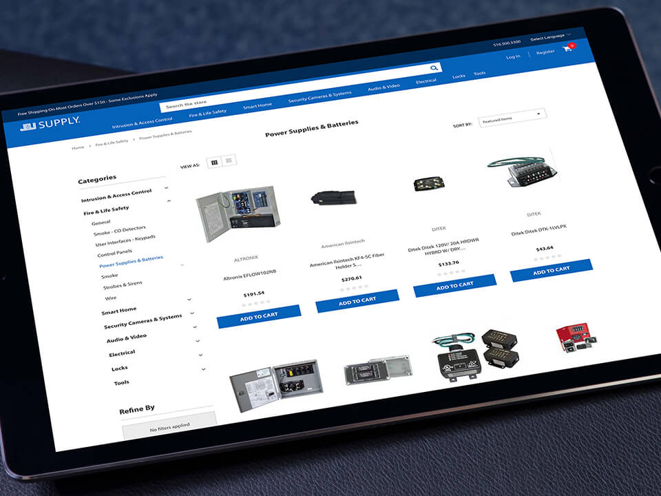 eCommerce Brand ERP Implementation and Website Development Displaying Product Page on a Tablet