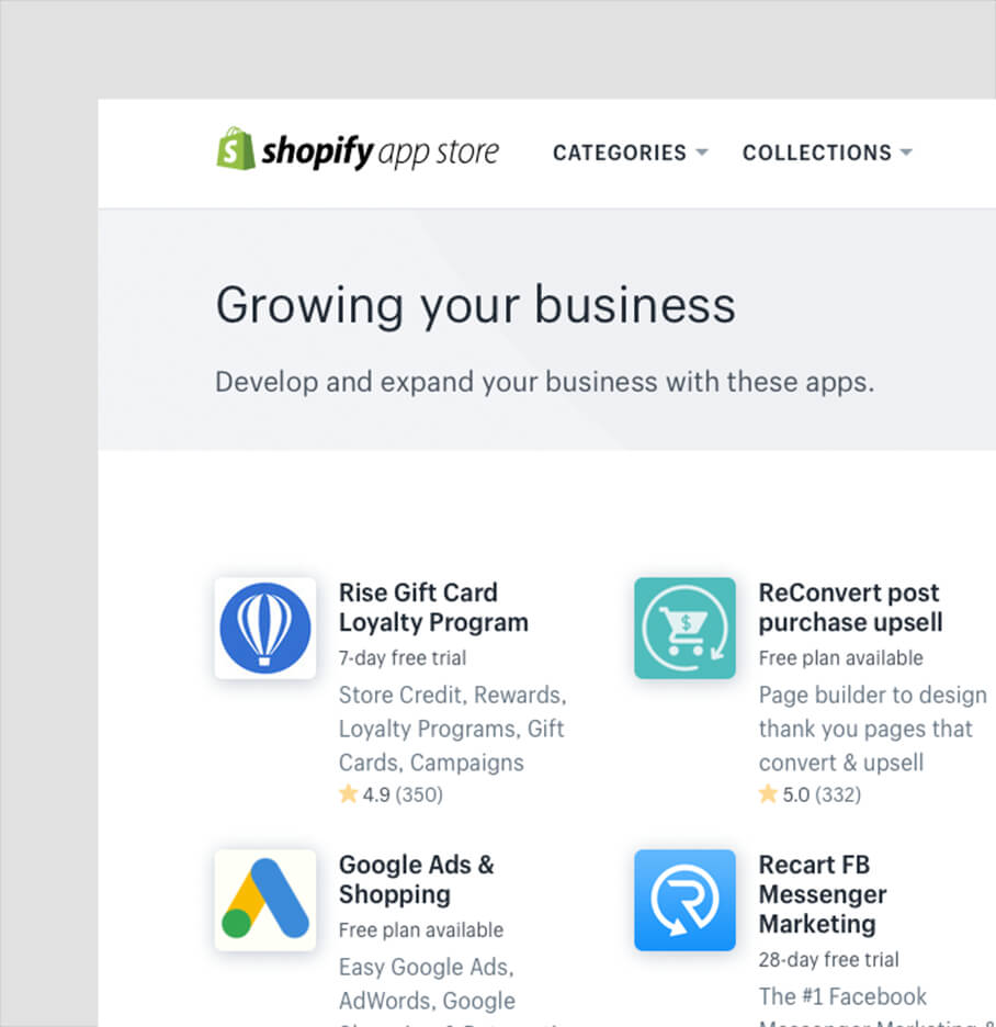 Logos And Descriptions Of eCommerce Apps That Integrate With Shopify