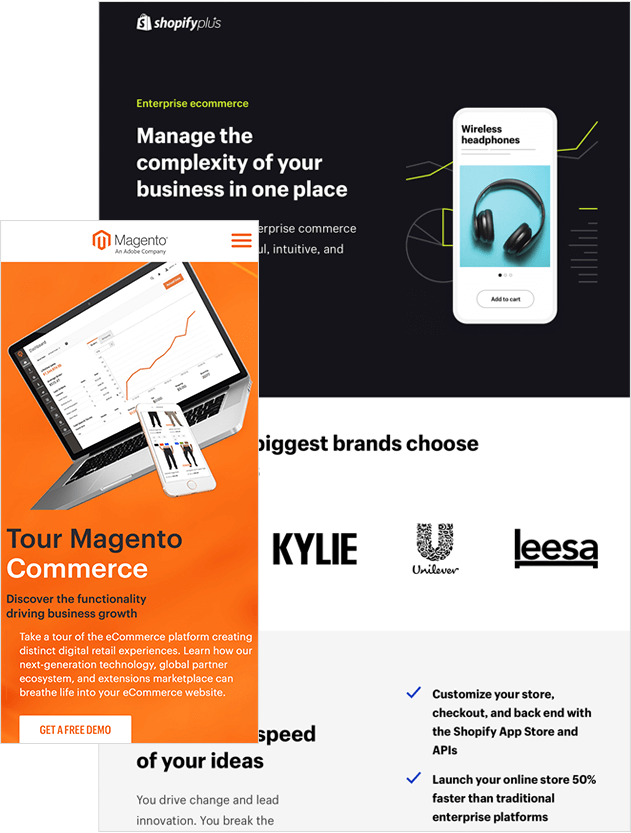 Two Ads For Ecommerce Marketing Companies