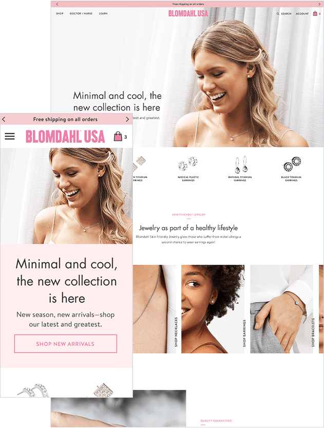 Ecommerce Web Design of Jewelry Company's Website
