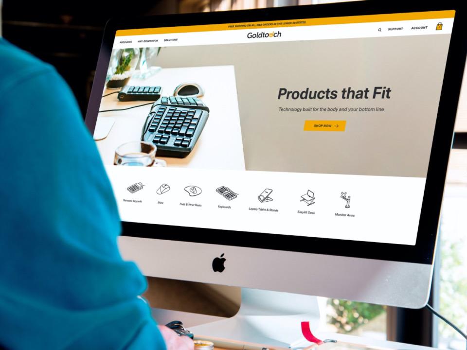 Goldtouch UX Design Website Mockup On Desktop Computer