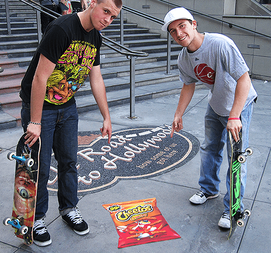 Experiential Marketing Agency Image of Two Skateboarders With Floor Sticker Decal
