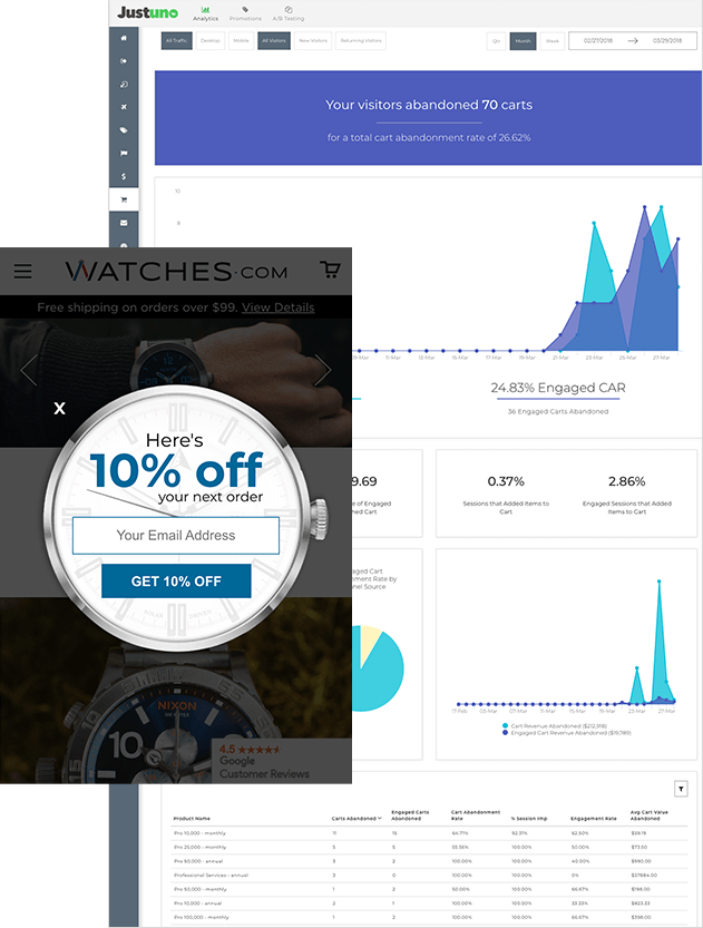 Justuno Design Dashboard With Pop-Up Discount Message