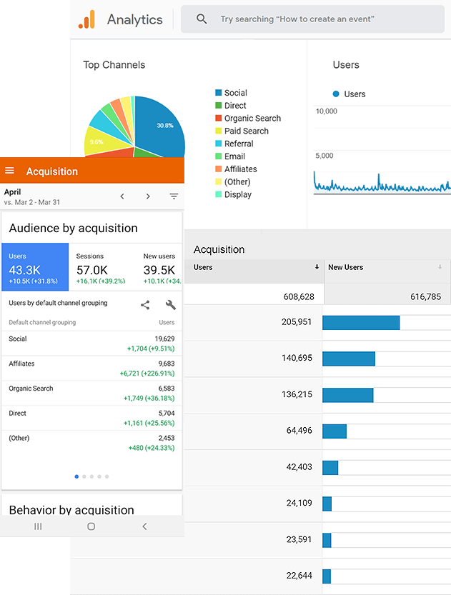 Expert Search Engine Optimization Dashboard Displaying User Data