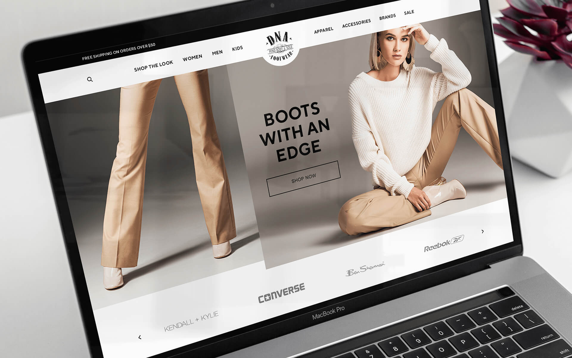 Footwear Marketing Digital Marketing Image With Model Wearing Boots Shown on Laptop