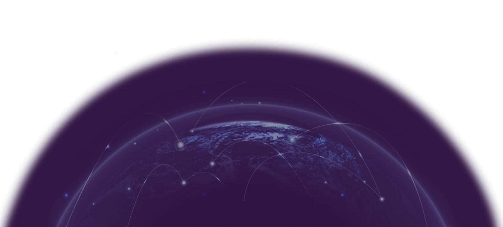 Full Service Marketing Agency Graphic Featuring Globe With Lines Showing Office Locations