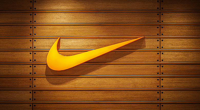 Orange Nike Logo Wooden Style