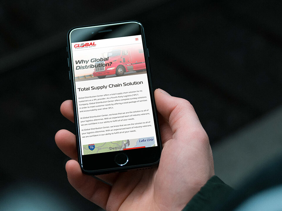 Web Development Agency Project for a Trucking and Fulfillment Center Shown on Smartphone