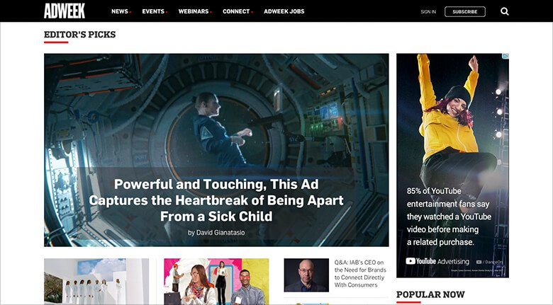 Ad Week Blog Banner with Editor's Picks
