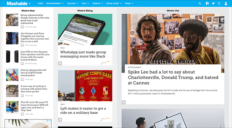 Mashable Website Blog Header