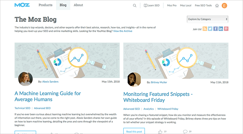 Example of Moz Blog Title Page Showing Two Blogs About SEO