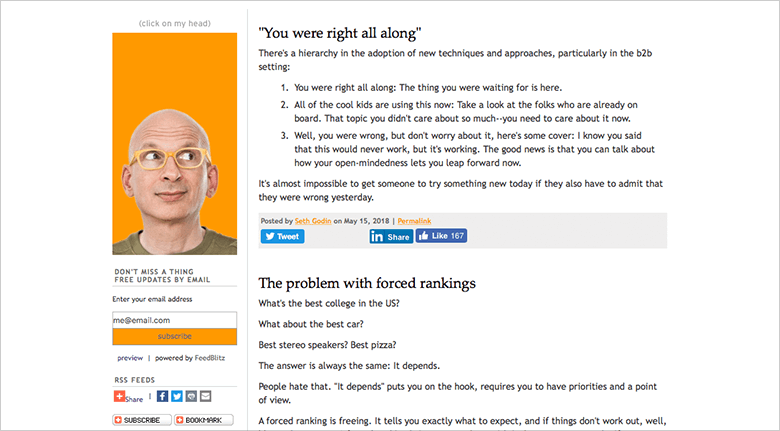 Seth Godin Blog Featuring Blog About Marketing Adoption