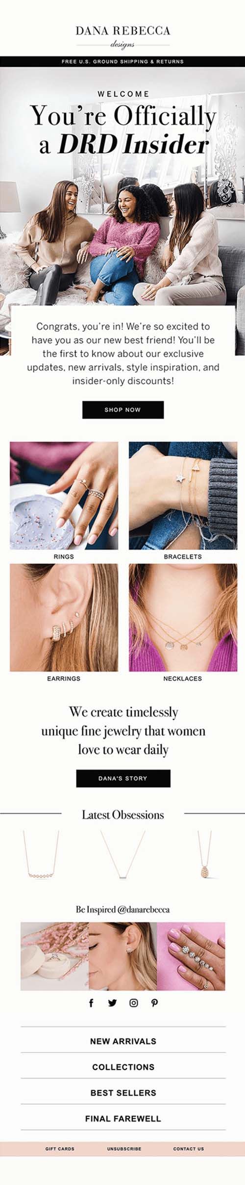 Luxury Jewelry Klaviyo Agency Marketing Email Graphic With Ladies On Couch