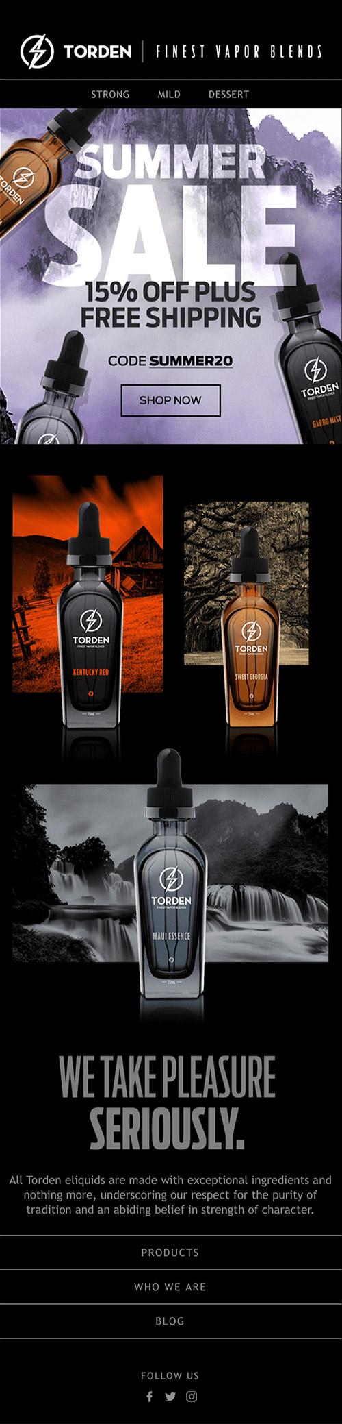 Klaviyo Agency Design of Vaping Promotional Email On A Black Background