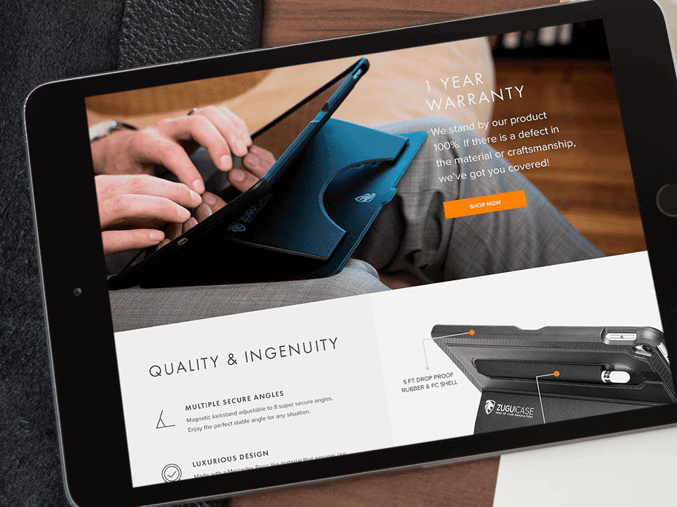 Ecommerce Web-Design Agency Brand Development Tablet View for Phone Accessories