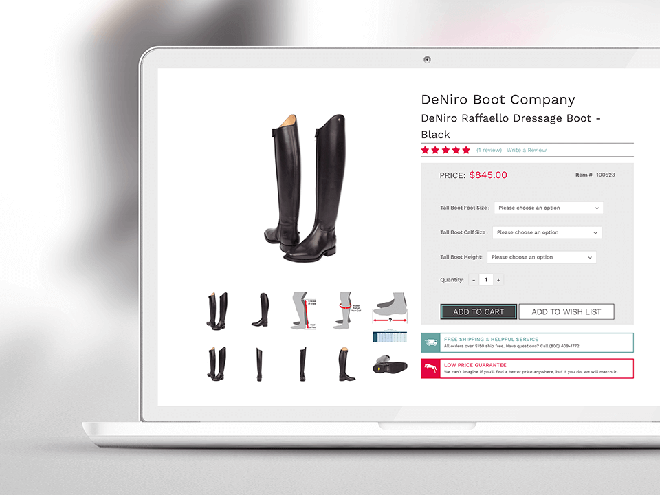 BigCommerce Website Showing Equestrian Footwear Collection with Pricing
