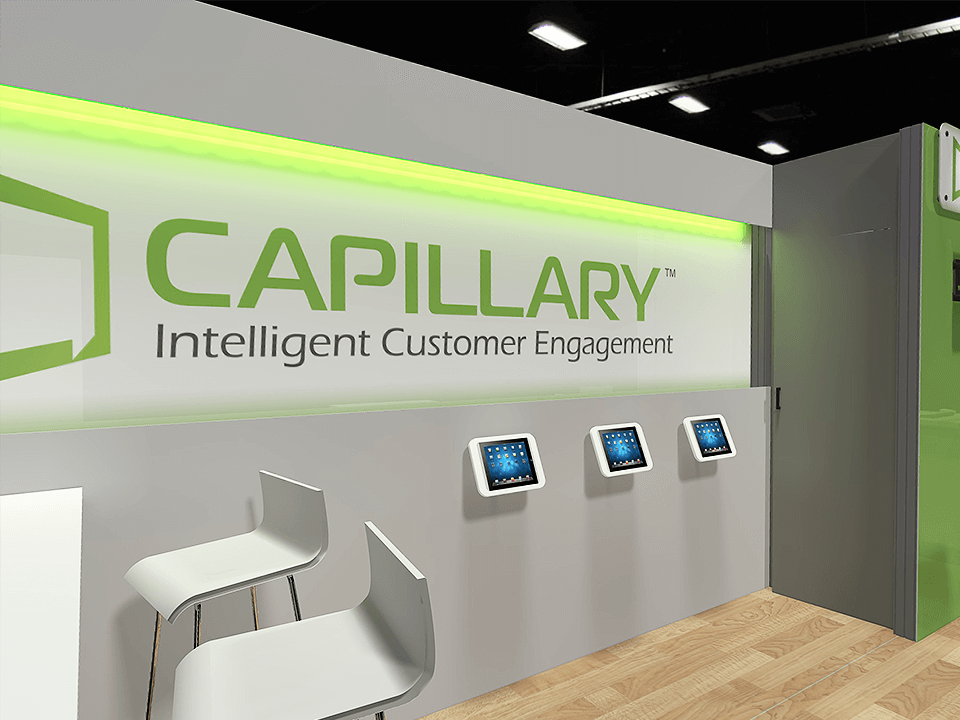 Event Marketing Firm Rendering Design of Trade Show Booth In Green With Depicted iPads and Chairs