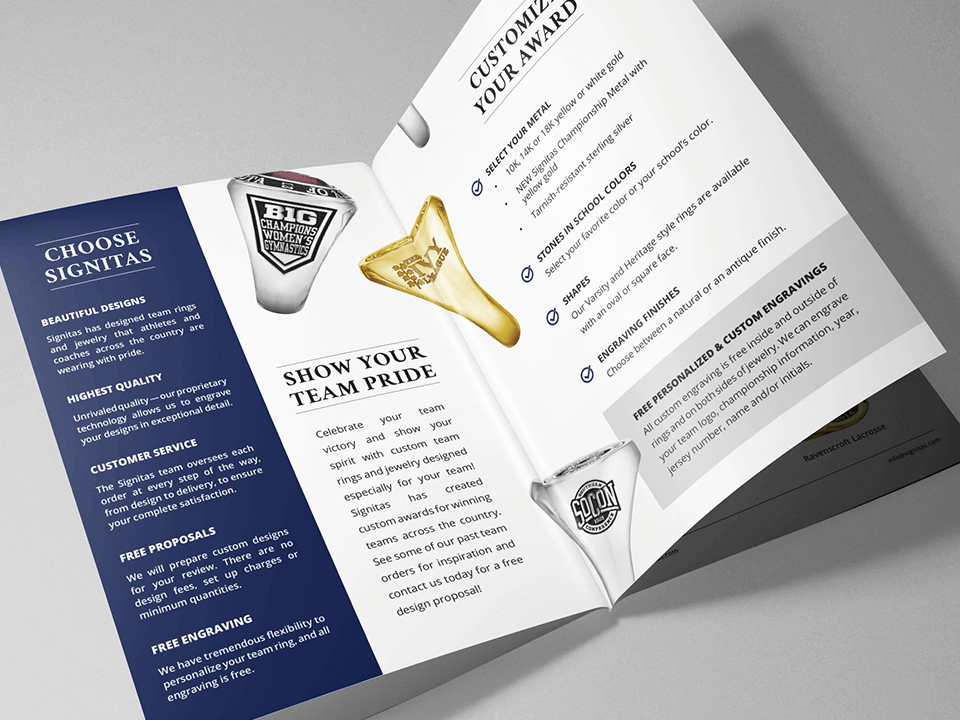 Jewelry Marketing Brochure for Class Rings Branding