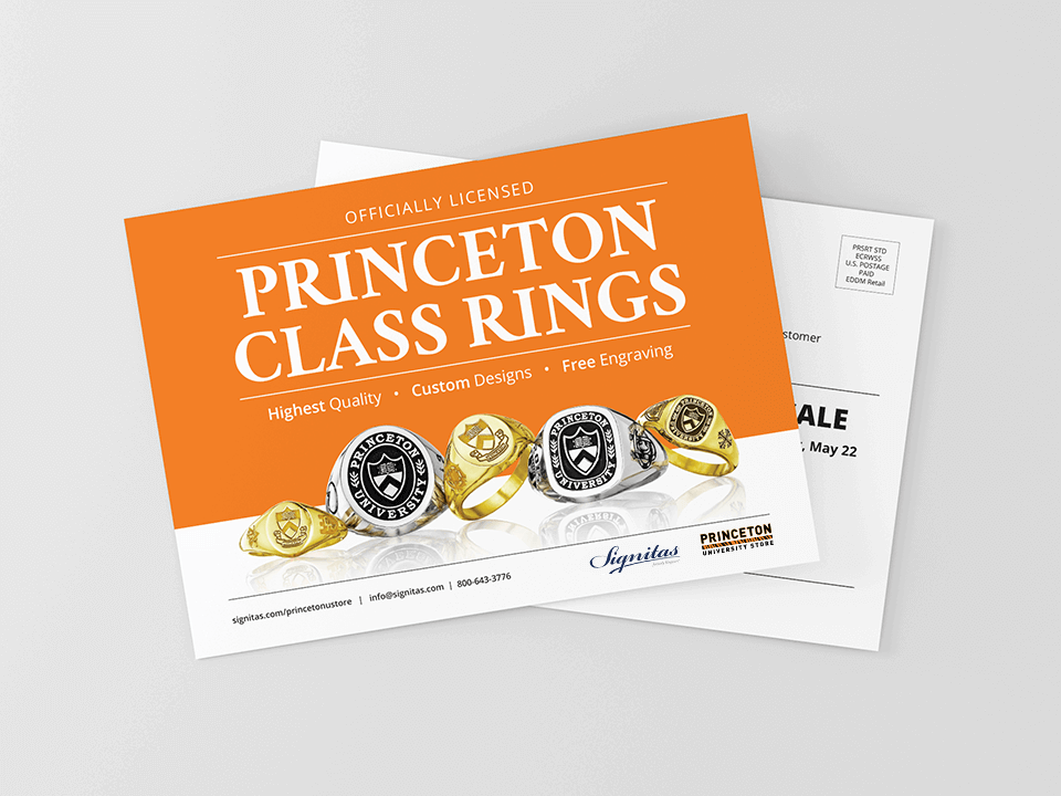 Card for Class Rings Designed By Jewelry Marketing Agency