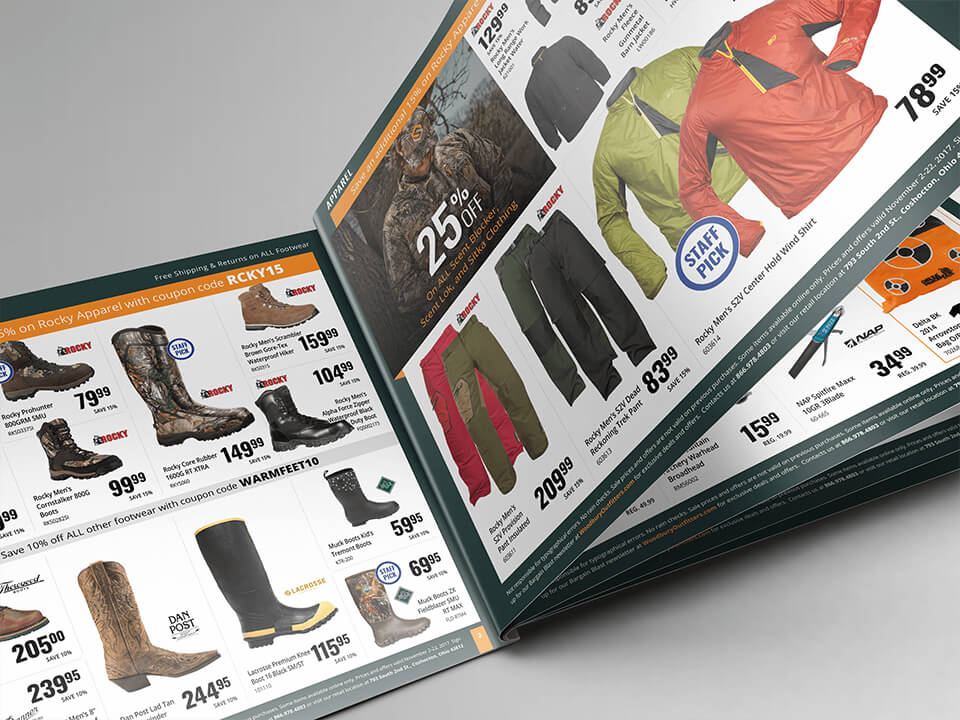 Print Magazine For Hunting and Fishing Showing Open Pages With Footwear and Boots