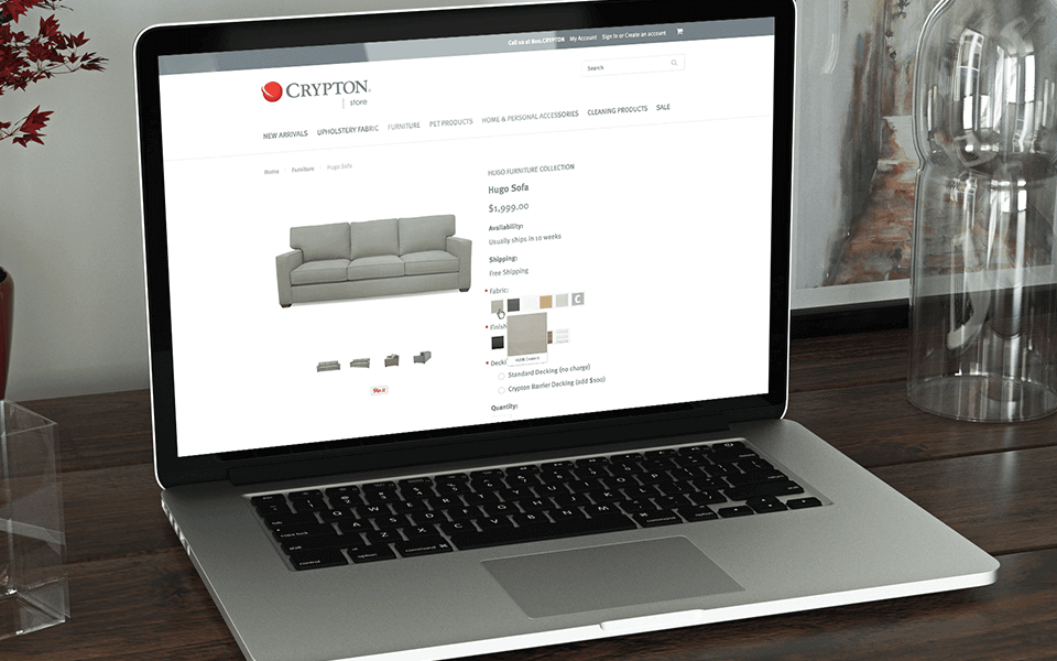 Textile Marketing Company Case Study Showing Client Furniture Selection on Laptop